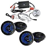 """New Pyle PLMRMBT7B Marine Boat Yacht 1200 Watt Amp Bluetooth Streming 4-Channel Amplifier System With 4 x 6.5"""" Inch LED Light Marine Waterproof Speakers - Complete Marine Boat Audio Kit"""