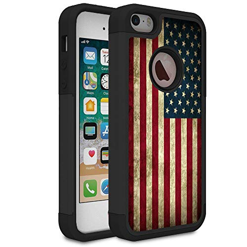 Rossy iPhone 5S Case,iPhone SE Case, Retro Vintage Old USA American Flag Design Shock-Absorption Hard PC Soft Silicone Dual Layer Hybrid Armor Defender Protective Case Cover for Apple iPhone 5/5S/SE
