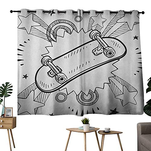 NUOMANAN backout Curtains for Bedroom Doodle,Sketch of a Skateboard with Sixties and Seventies Style Pop Art Inspired Background, Black White,Insulating Room Darkening Blackout Drapes 52