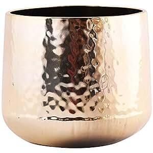 Little Green House Round Ceramic Vase, Gold