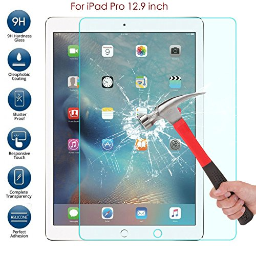 For iPad Pro HD Clear Screen Protector, 12.9 Inch Premium Tempered Glass Screen Explosion-proof Film 0.3mm / 9H / Bubble Free Installation, Anti-Fingerprint, Retail Package for Apple (iPad Pro 12.9'')