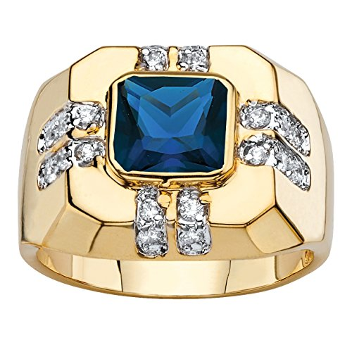Palm Beach Jewelry Men's 14K Yellow Gold-Plated Square Cut Blue Spinel and Round Cubic Zirconia Octagon Ring Size 13