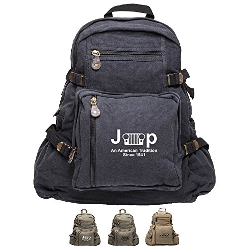 An American Tradition Since 1941 Jeep Army Canvas Backpack