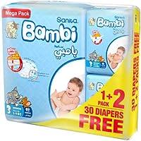 Sanita Bambi Baby Diaper Mega pack, Medium, 5-9kg, (92+ 30 free) Count