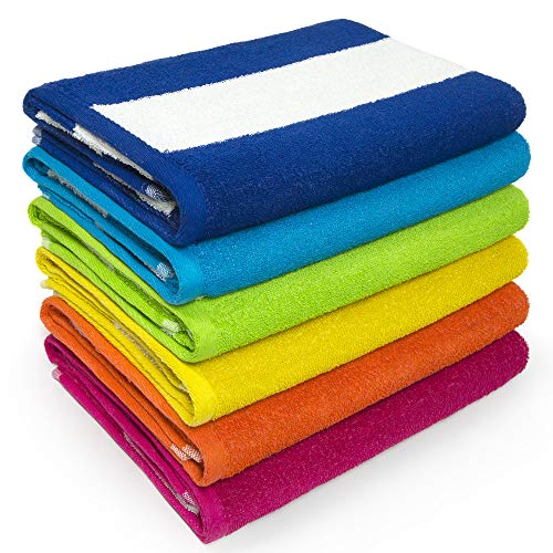 Cabana Beach and Pool Towel 6 Pack - 30in x 60in Soft and Absorbent Terry Loop (Royal, Turquoise, Green, Yellow, Orange, Pink)