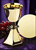 Stratford Chapel Gold Tone Six-Sided Base Chalice and Paten Set, 7 1/2 Inch