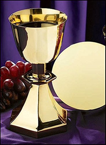 Stratford Chapel Gold Tone Six-Sided Base Chalice and Paten Set, 7 1/2 Inch by Stratford Chapel