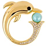 RUXIANG Pearl Crystal Dolphin Sea Fish Animal Magnetic Eyeglass Holder Pin Brooches Clothes Jewelry (gold)