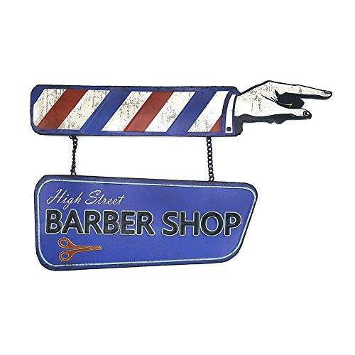 66Retro High Street Barber Shop, Vintage Retro Embossed Metal Tin Sign, Wall Decorative Sign
