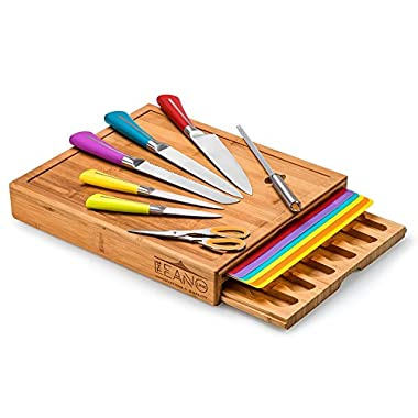 Leano Line 16 Piece All-in-one Large Bamboo Cutting Board with Color Coded Removable Mats and Color Coded Kitchen Knife Set