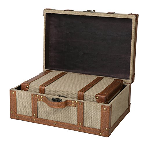 SLPR Carson Wooden Fabric-Covered Suitcase Boxes (Set of 2, Beige) | Old-Fashioned Antique Vintage Style Nesting Trunks for Shelf Home Decor Birthday Parties Wedding Decoration Displays Crafts