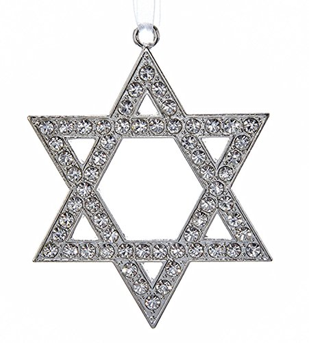 Kurt Adler Silver Star of David with Rhinestones Jewish Holiday Ornament -
