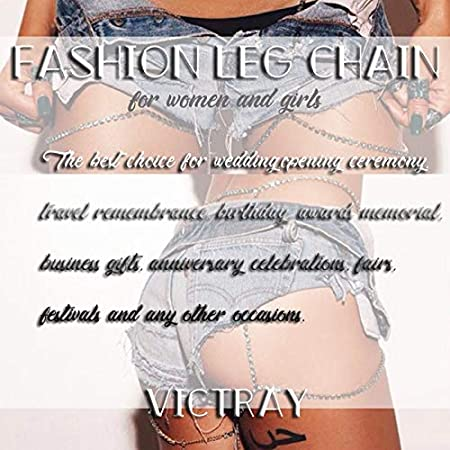 Victray Boho Crystal Leg Chains Body Chain Summer Beach Thigh Chain Fashion Body Jewelry for Women and Girls Silver