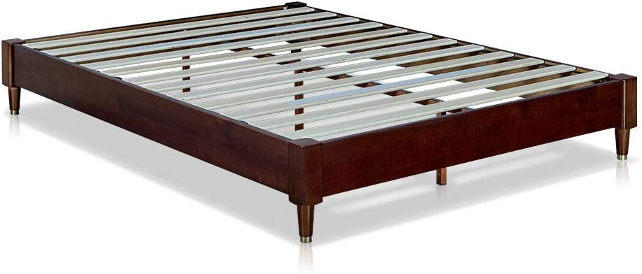 MUSEHOMEINC Mid-Century Modern Wood Platform Bed Frame with Wooden Slats Suppor No Boxspring Neede Cuprum Leg Base,Walnut Finish,King