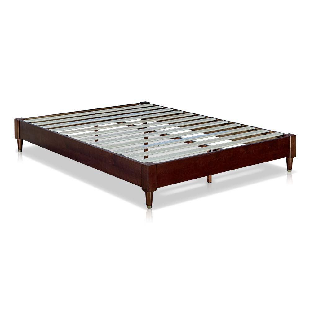 MUSEHOMEINC Mid-Century Modern Wood Platform Bed Frame with Wooden Slats Suppor No Boxspring Neede Cuprum Leg Base,Walnut Finish,Full