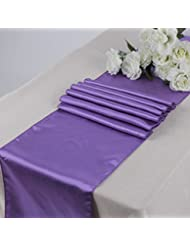 MDS Pack Of 10 Wedding 12 X 108 Inch Satin Table Runner For Wedding Banquet  Decoration  Lavender