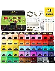 Magicfly Polymeer klei, 45 kleuren, polymeer klei, oven, bakken knutselset met 5 modelleergereedschappen en 40 sieradenaccessoires, zachte klei voor kinderen Kerstmis