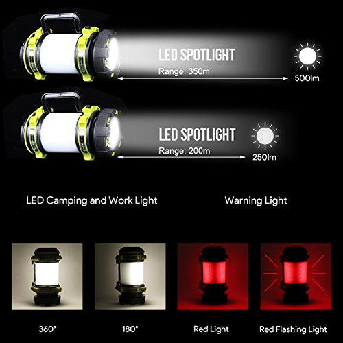 LE Portable LED Camping Lantern, USB Rechargeable, 2600mAh Power Bank, 500lm, Super Bright Flashlight, Dimmable Spotlight, 3 Lighting Modes Searchlight, Outdoor Tent Light for Hiking, Fishing and More