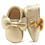 OOSAKU Baby Girls Infant Newborn Crib Shoes with Soft Sole Bowknot Tassel Gold PU 6-12 Months