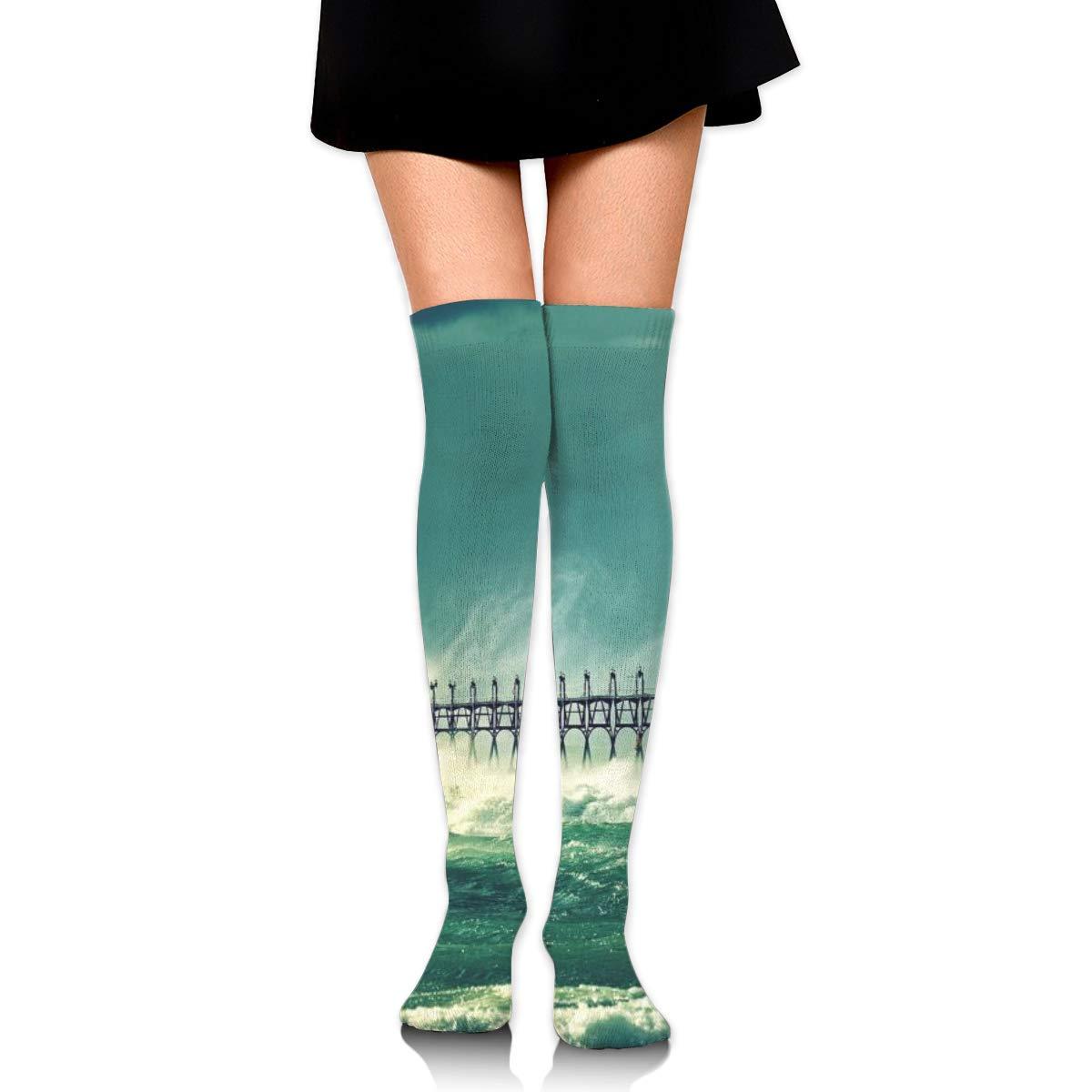 Kjaoi Girl Skirt Socks Uniform Sea Lighthouse Women Tube Socks Compression Socks