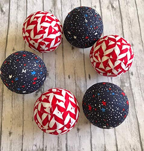 Patriotic Stars and Stripes Fabric Wrapped Balls Orbs Bowl Filler ()