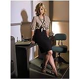 Allison Mack Leaning Against Desk with Flirty Fishnet Stockings and Leopard Print Heels Full Body 8 x 10 Photo