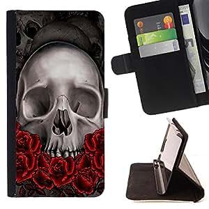 - Skull Devil Pattern - - Monedero pared Design Premium cuero del tir?n magn?tico delgado del caso de la cubierta pata de ca FOR HTC Desire 820 Funny House
