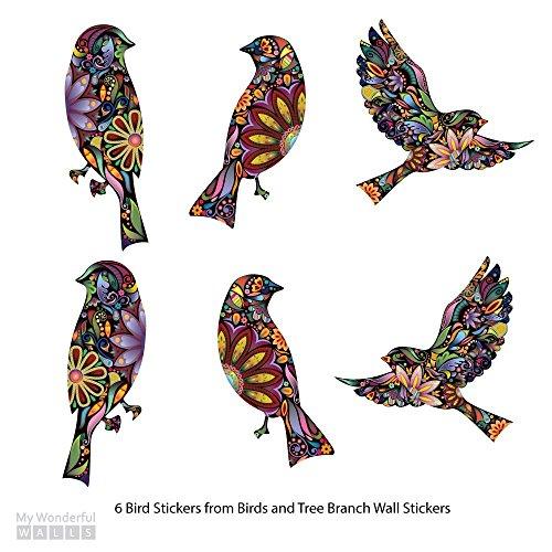 Amazoncom My Wonderful Walls Bird Stickers In Lovely Flower - Window alert hummingbird decals amazon