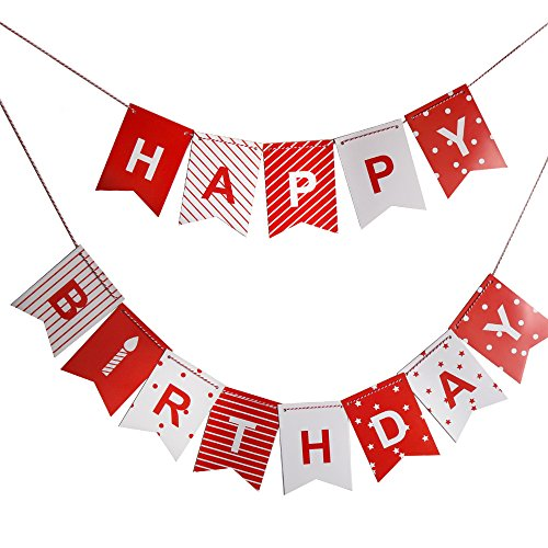 Sunny ZX Red Happy Birthday Banner for boys, girls and adults, Colorful Party Decorations from Paper, Red and White Pennants with Letters