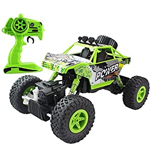 Fisca RC Car Remote Control Rock Crawler High Speed 4WD Off-Road Vehicle, 2.4Ghz 1:18 Dune Buggy Monster Truck Electric Hobby Fast Race Car with Rechargeable Battery Green