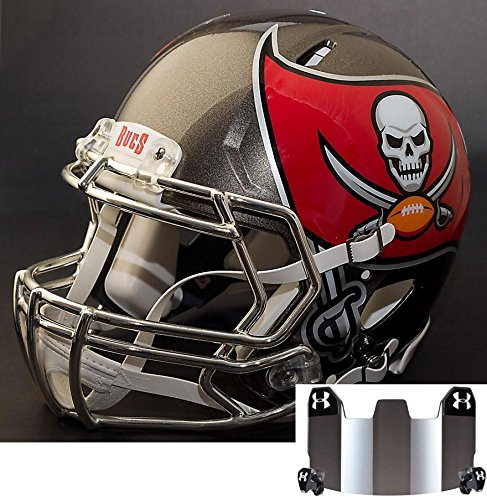 Riddell Speed Tampa Bay Buccaneers NFL Replica Football Helmet with S2BD Football Helmet Facemask/Faceguard and Mirrored Eye Shield/Visor (Football Helmet Tampa Replica Buccaneers Bay)