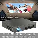 Mini DLP Projector Wireless 3D Bluetooth 4.0 Dual WiFi Airplay Miracast Built-in Battery Multimedia, for Home Cinema Theater Business Education Office School PPT Presentation Outdoor Camping