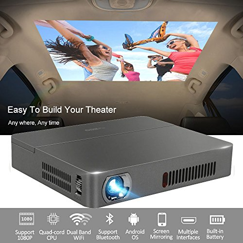 Mini DLP Projector Wireless 3D Bluetooth 4.0 Dual WiFi Airplay Miracast Built-in Battery Multimedia, for Home Cinema Theater Business Education Office School PPT Presentation Outdoor Camping by EUG