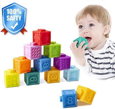AWOTOY Soft Building Blocks Baby Stacking Blocks Bath Toy Textured Sensory Set Teething Chewing Toy Teethers Toy Educational Squeeze PlayNumbers Animals Shapes Textures for 8 Months Toddlers