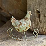 VIntage-Style Rustic Primitive Small Rocking Hen Chicken Rooster Shelf Sitter Adorable