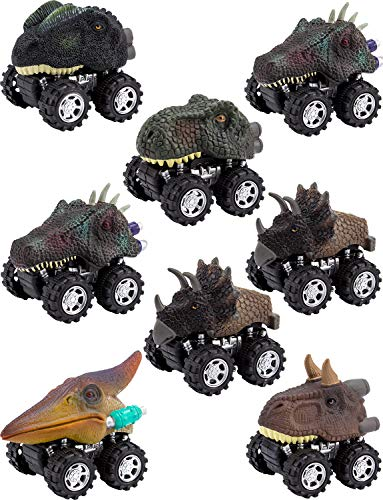 Apipi 8 Pack Pull Back Dinosaur Cars Toys - Christmas Gifts Toys for 2-9 Year Old Boys - Dinosaur Vehicles Toys with Big Tire Wheel for Kids Toddlers Party Supplies Favors -