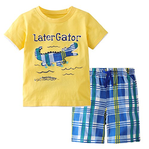 3 Piece Summer Short - Fiream Boys Cotton Crocodile Clothing Sets Summer Shortsleeve t-Shirts and Shorts 2 Pieces Clothing Sets(18041,3-4YRS)