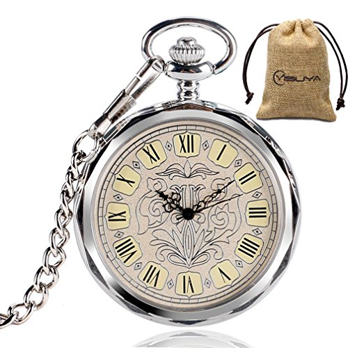 Silver Mechanical Dial (Luxury Open Face Mechanical Pocket Watch with Chain Silver Pendant Roman Numeral Creative Flower Dial Clock)
