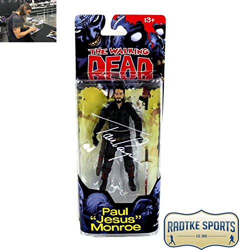 "Tom Payne Autographed/Signed The Walking Dead Paul ""Jesus"" Monroe Action Figure with Gun & Sword"