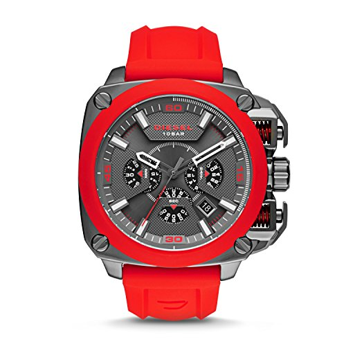 Diesel Men's 'BAMF' Quartz Stainless Steel and Silicone Casual Watch, Color:Red (Model: DZ7368)