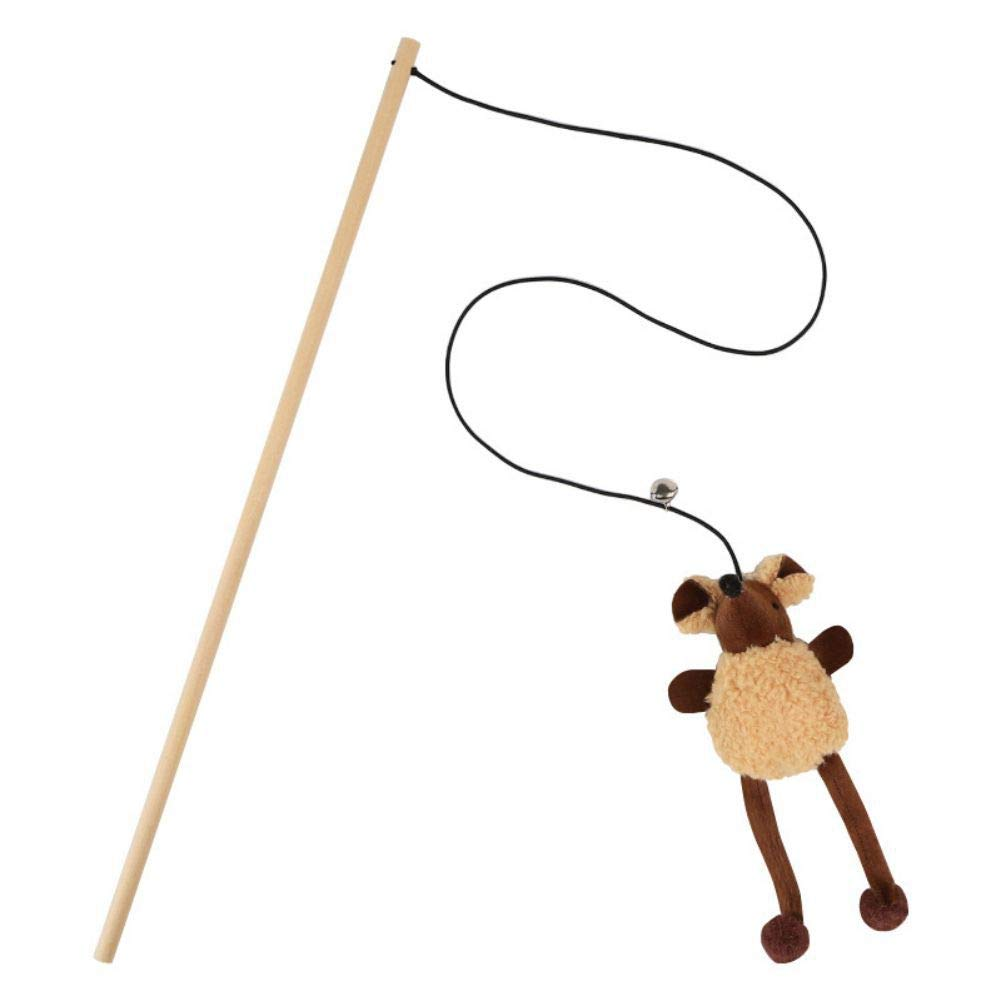 Breeezie Plush Mouse Catcher Elastic String color Random Interactive Teaser Cat Toy Wooden Wand With Bell