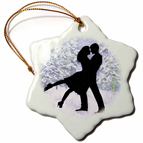 (3dRose Doreen Erhardt Love and Romance - Sweet Silhouette of a Couple Kissing in a Woodland Snow Scene - 3 inch Snowflake Porcelain Ornament (ORN_235490_1))