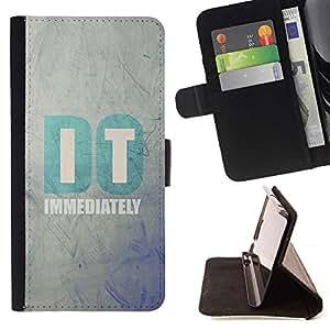 For Sony Xperia Z3 Plus / Z3+ / Sony E6553 (Not Z3) Case , Se cita de motivación de texto minimalista- la tarjeta de Crédito Slots PU Funda de cuero Monedero caso cubierta de piel