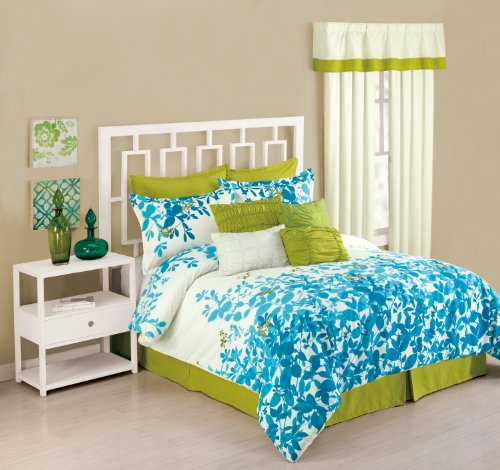 Presidio Square Collection 8-Piece Flourish Comforter Set, Queen, Sky Blue