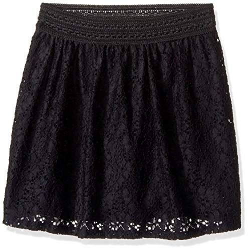 Amy Byer Spandex Skirt - Amy Byer Girls' Big Picture Perfect Lace Skirt, Black, L