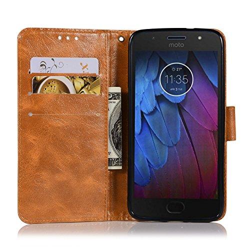 Funda Moto G5s Plus, SsHhUuJ Funda PU Piel Genuino Carcasa en Folio [Ranuras para Tarjetas] [Cierre Magnetico] con Acollador para Motorola Moto G5s Plus (5.5) - Gris Dorado