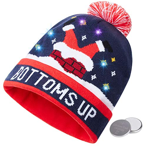 (RAISEVERN Unisex Ugly LED Santa's Hat Novelty Colorful Light-up Stylish Knitted Sweater Merry Christmas Beanie Hats for Xmas Party)