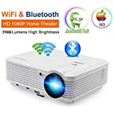 200 LCD LED HD Android 6.0 Projector WiFi Bluetooth 3900 Lumens WXGA, Multimedia Home Cinema Theater Video Projector 1080P HDMI VGA USB SD AV TV for Movie TV Video Game Home Outdoor