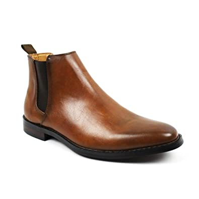 def1fbed07c6 Jaxson Men s Ankle Dress Boots Slip On Almond Round Toe Leather Chelsea  JX-B1851A (