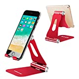 Adjustable Cell Phone Stand,YOSHINE iPhone Stand Tablet Stand Desktop Cellphone Stand with Anti-Slip Base and Convenient Charging Port, Universal Aluminum Stand for All Smartphones and Tablets - Red